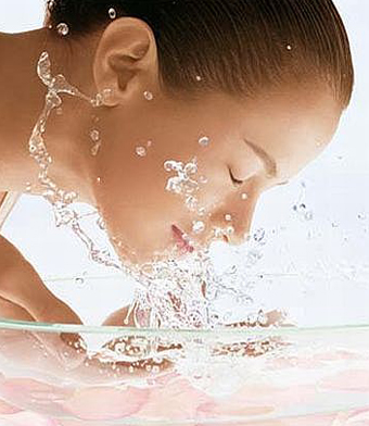 Treated water associated with skin and hair